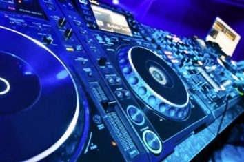 dj equipment in a nightclub