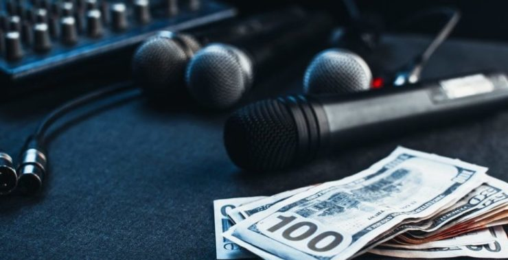 dj equipment next to money