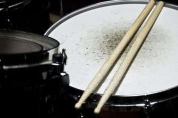 snare drums with drumsticks