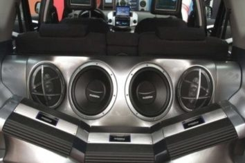 sub woofer set in the back of a car