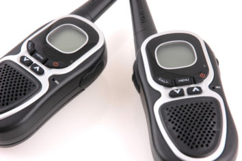 close up of black two-way radios
