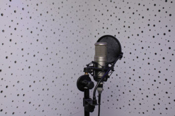 studio condenser microphone in a recording studio