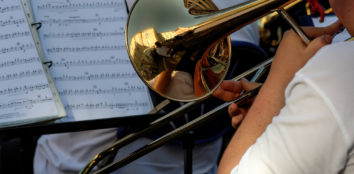 A musician playing a trombone