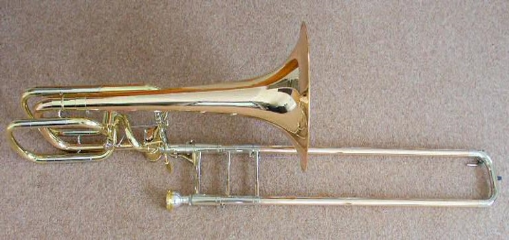 a bass trombone on the floor