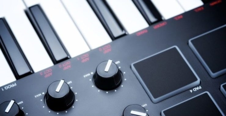 close up of sound and sample features on a midi keyboard