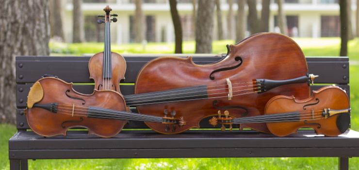 there are four violins on a bench